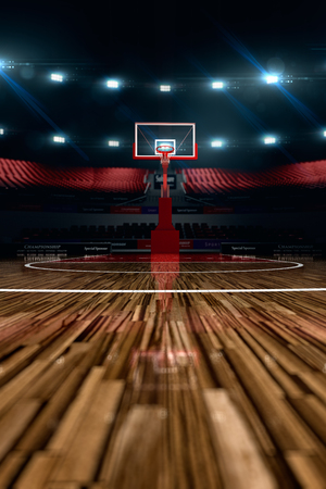 Basketbalveld. Sport arena. 3d render achtergrond. unfocus in long shot afstand Stockfoto