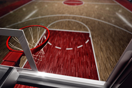 court: Basketball court. Sport arena. 3d render background. unfocus in long shot distance