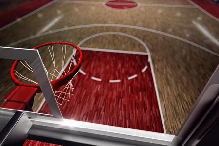 terrain de basket: Terrain de basketball. Arena Sport. 3d render fond. unfocus dans la longue distance de tir