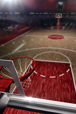 Basketball court. Sport arena. 3d render background. unfocus in long shot distance