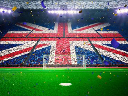 팬들의 국기입니다. 이전 경기장 경기장 축구 필드 챔피언십 우승. 색종이 및 반짝임 블루 토닝