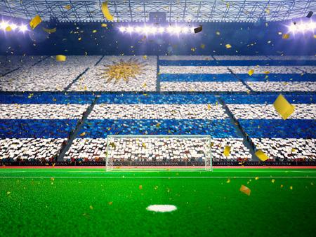 bandera de uruguay: Bandera de Uruguay de fans.Evening estadio arena campo de fútbol ganar el campeonato. Confeti y oropel Azul de tonificación Foto de archivo