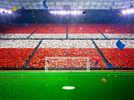 color fan: Flag Austria of fans.Evening stadium arena soccer field championship win. Confetti and tinsel Blue Toning