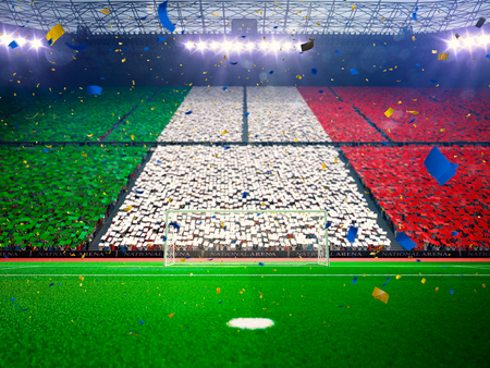 Flag Italy   of fans.Evening stadium arena soccer field championship win. Confetti and tinsel Blue Toning Archivio Fotografico