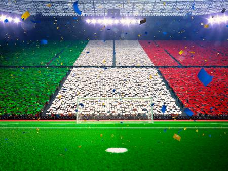 Flag Italy   of fans.Evening stadium arena soccer field championship win. Confetti and tinsel Blue Toning Standard-Bild