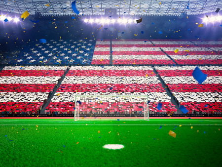 soccer team: Flag america USA of fans.Evening stadium arena soccer field championship win. Confetti and tinsel Blue Toning Stock Photo