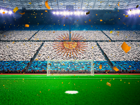 팬들의 아르헨티나 국기. 경기장 경기장 축구장 우승 승리. 색종이 및 반짝임 블루 토닝