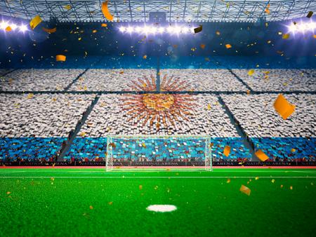 Bandera de Argentina de fans.Evening estadio arena campo de fútbol victoria en el campeonato. Confeti y oropel Azul de tonificación