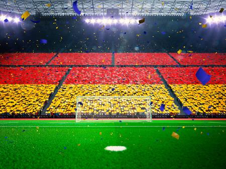 campeonato de futbol: Bandera de Alemania de fans.Evening estadio arena campo de fútbol victoria en el campeonato. Confeti y oropel Azul de tonificación Foto de archivo