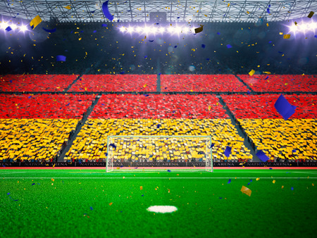 championships: Flag Germany of fans.Evening stadium arena soccer field championship win. Confetti and tinsel Blue Toning