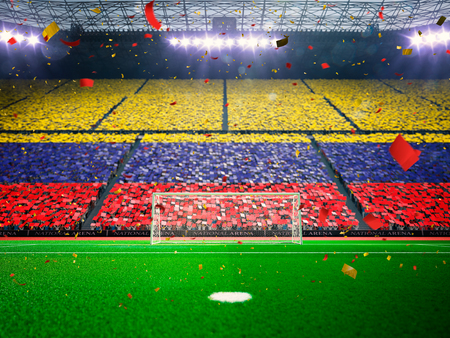 ファンの旗。夜スタジアム アリーナ サッカー フィールド選手権勝利。紙吹雪と見掛け倒しブルー調色