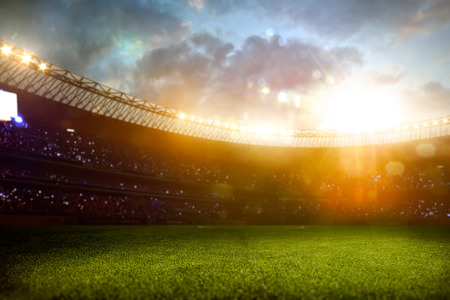 football fan: Evening stadium arena soccer field defocus background
