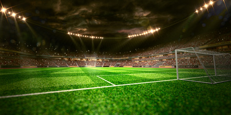 terrain de foot: Terrain de football de l'arène du stade de Nuit 3D, render, fond Unfocus Banque d'images