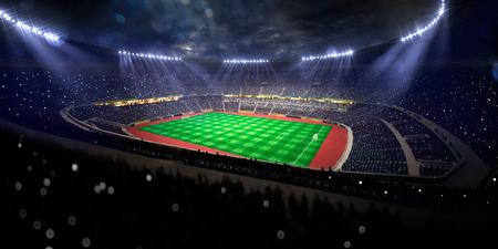 밤 경기장 경기장 축구 필드 선수권 대회 우승. 색종이와 반짝이