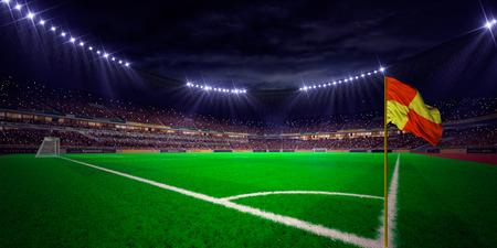 Night stadium arena soccer field championship win. Confetti and tinsel Archivio Fotografico