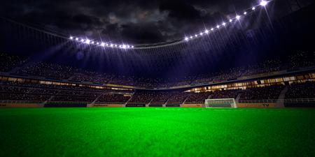 cancha de futbol: Noche estadio de fútbol Arena victoria en el campeonato de campo. Confeti y oropel