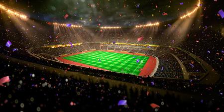 夜スタジアム アリーナ サッカー フィールド選手権勝利。紙吹雪と見掛け倒し