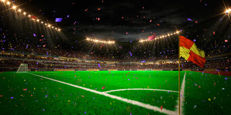Night stadium arena soccer field championship win. Confetti and tinsel Stock Photo