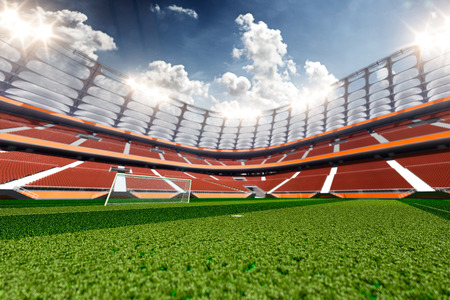 blu sky: Empty soccer stadium in sunlight blu sky Stock Photo