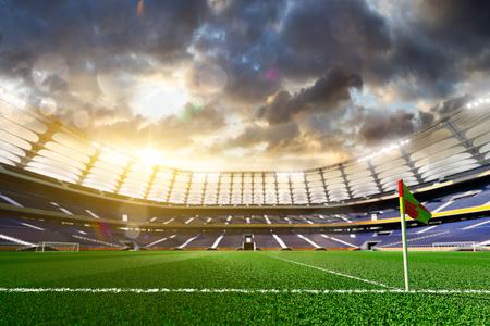 campo di calcio: Stadio di calcio vuoto alla luce del sole rendering 3D Archivio Fotografico
