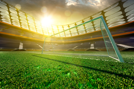 terrain de foot: Stade de football vide dans la lumière du soleil, 3D, render