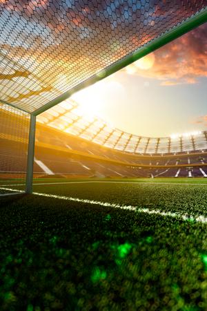 floodlit: Empty soccer stadium in sunlight 3d render