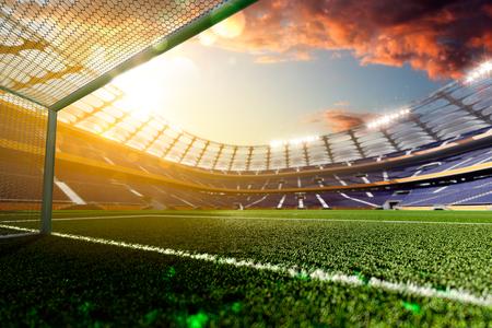 cancha de futbol: Estadio de fútbol vacío en la luz del sol de procesamiento 3D Foto de archivo