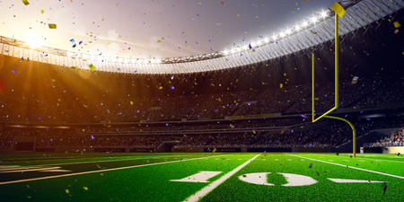 arena: Football Arena Stadium Day championship win. Confetti and tinsel Stock Photo