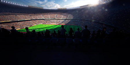 Football Arena Stadium Day render blue toning Stock Photo