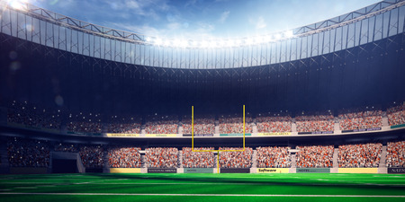 football stadium: Football Arena Stadium Day render blue toning Stock Photo