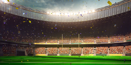 Football Arena Stadium Day championship win. Confetti and tinsel 写真素材