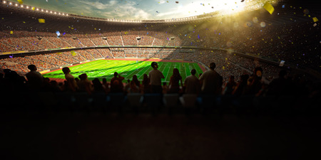 match: Football Arena Stadion Tag Meisterschaft zu gewinnen. Konfetti und Lametta Lizenzfreie Bilder
