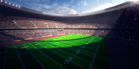 terrain de foot: Football Arena Day Stadium rendre virage au bleu