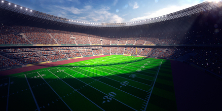Football Arena Stadium Day render blue toning Archivio Fotografico