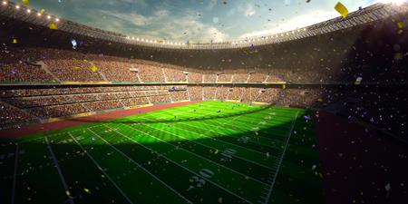 cerillos: Victoria en el campeonato de Fútbol Arena Día Stadium. Confeti y oropel