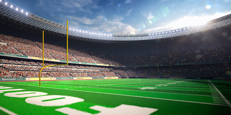 green field: Football Arena Stadium Day render blue toning Stock Photo