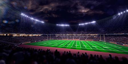 terrain de foot: arène du stade de nuit de championnat sur le terrain de football gagnant