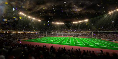 floodlit: Night stadium arena Football field championship win.  Confetti and tinsel. Stock Photo