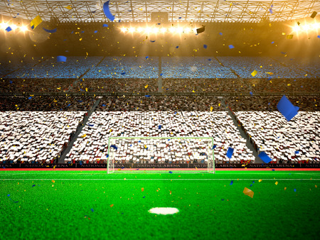 Flag Estonia of fans.Evening stadium arena soccer field championship win. Confetti and tinsel Yellow Toning