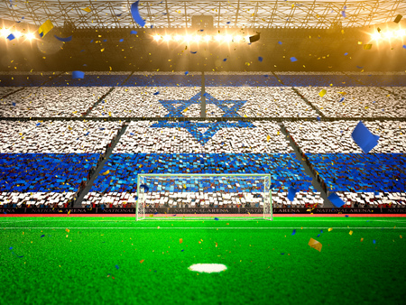 Flag Israel of fans.Evening stadium arena soccer field championship win. Confetti and tinsel Yellow Toning