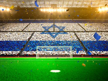 Flagge Israel von fans.Evening Stadion Arena Fußball Meisterschaft zu gewinnen. Konfetti und Lametta Gelb Toning Lizenzfreie Bilder