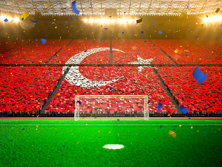 fan: Flag Turkey of fans.Evening stadium arena soccer field championship win. Confetti and tinsel Yellow Toning
