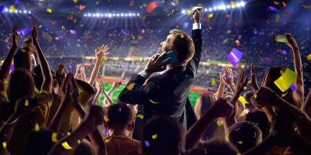 jugando futbol: Fans on stadium soccer game Confetti and tinsel