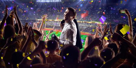 termine: Fans auf Stadion Fußballspiel Konfetti und Lametta