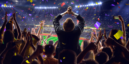 championships: Fans on stadium soccer game Confetti and tinsel