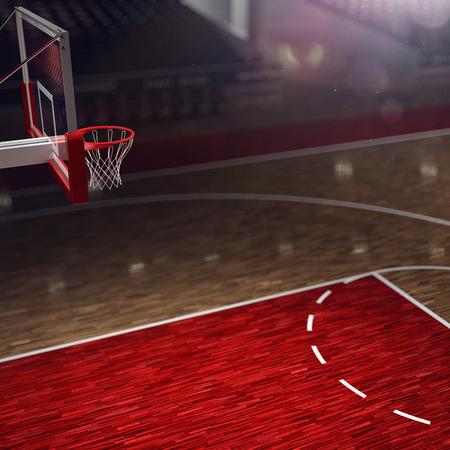 long shot: Basketball court. Sport arena. 3d render background. unfocus in long shot distance