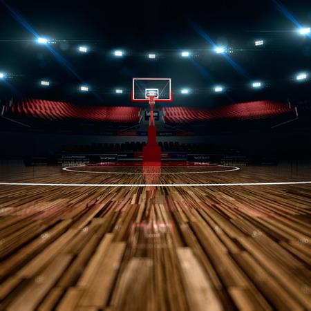 농구 코트. 스포츠 경기장. 배경을 렌더링. 긴 샷 거리에 unfocus