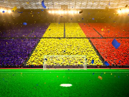 fans: Flag  Romania  of fans. Evening stadium arena soccer field championship win. Confetti and tinsel Stock Photo