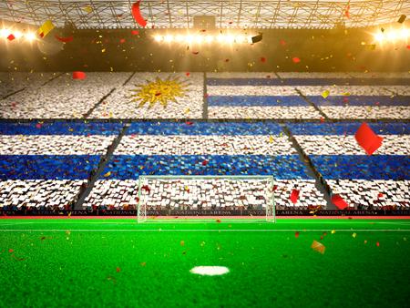 bandera de uruguay: Bandera de Uruguay de los aficionados. Tarde Estadio de la arena de fútbol victoria en el campeonato campo. Confeti y oropel