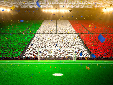 Flag Italy of fans. Evening stadium arena soccer field championship win. Confetti and tinsel